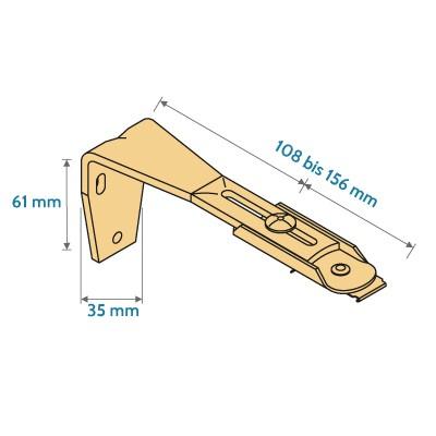 Wandwinkel für Vertikalvorhang 108 - 156 mm Wandabstand
