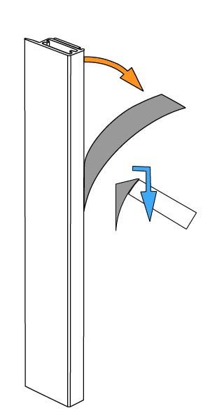 Klebeleiste für Plissees an die Glasscheibe kleben