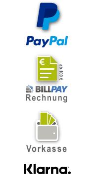 PayPal, Rechnungskauf, Vorkasse, Kreditkarte, Sofort Überweisung