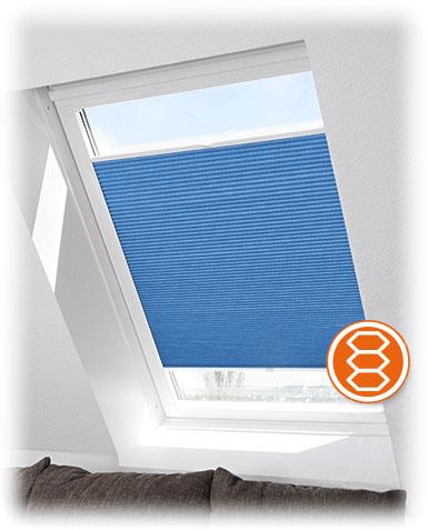 Dachfenster Wabenplissee auch Duette genannt