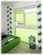 Plissee Grün als Sichtschutz
